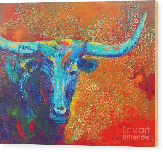 Turquoise Longhorn Wood Print