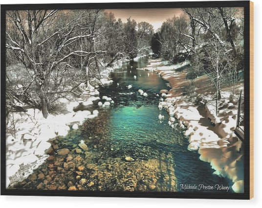 Turquoise River  Wood Print