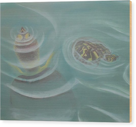 Turtle Pond I Wood Print