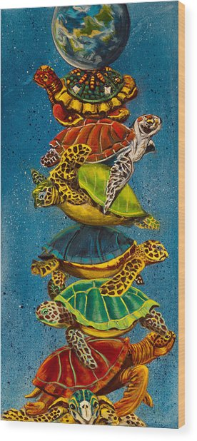 Turtles All The Way Down Wood Print