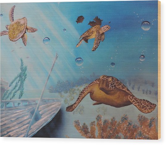Turtles At Sea Wood Print