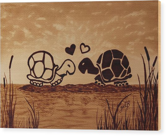Turtles Love Coffee Painting Wood Print