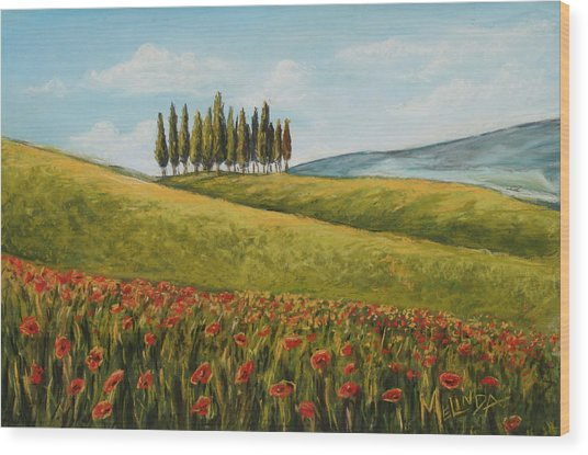 Tuscan Field With Poppies Wood Print
