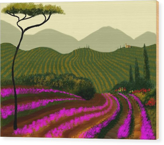 Tuscan Fields Of Color Wood Print