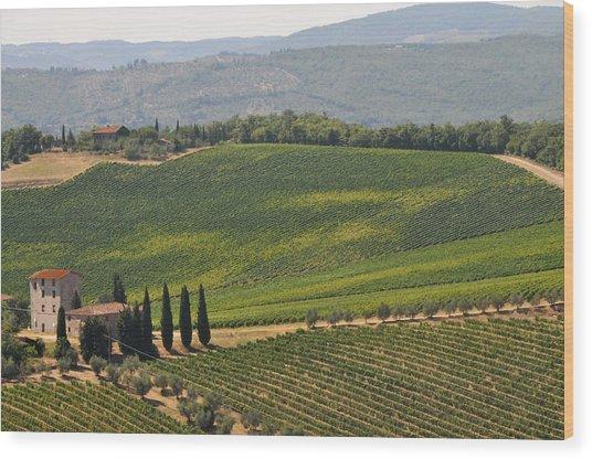 Tuscan Hillside Wood Print