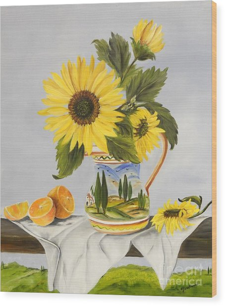Tuscan Pitcher And Sunflowers Wood Print
