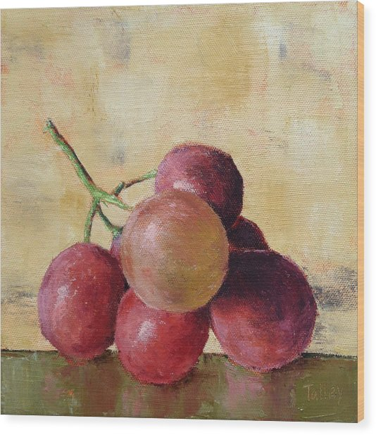 Tuscan Red Globe Grapes Wood Print