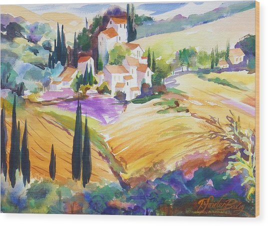 Tuscan Villas And Fields Wood Print by Therese Fowler-Bailey