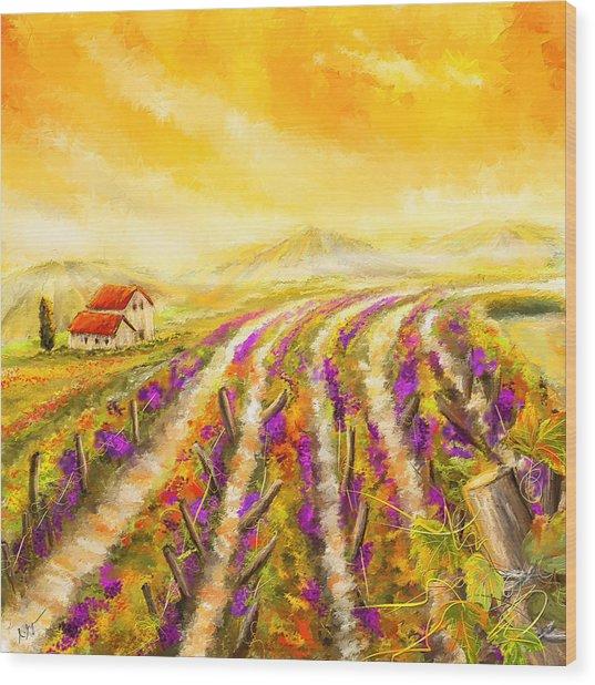 Tuscan Vineyard Sunset - Vineyard Impressionist Paintings Wood Print