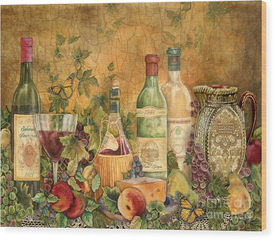 Tuscan Wine Treasures Wood Print