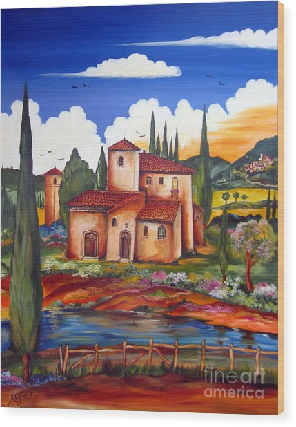 Tuscany Farmhouse Wood Print