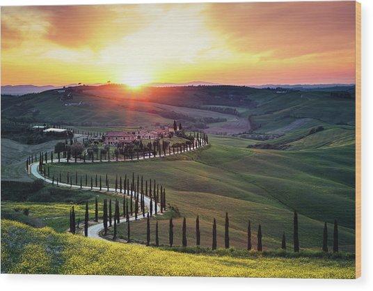 Tuscany Landscape At Sunset Wood Print by Borchee