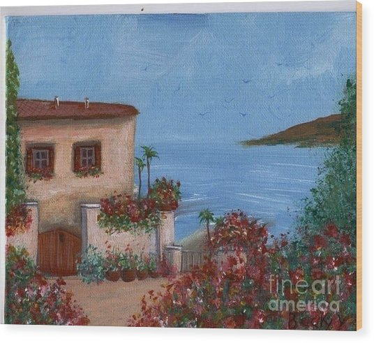 Tuscany View Wood Print