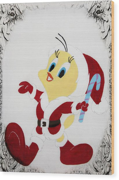 Tweety Christmas Wood Print