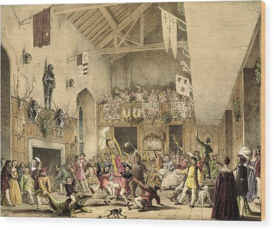 Twelfth Night Revels In The Great Hall Wood Print