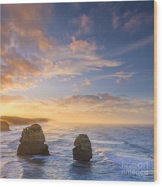 Twelve Apostles Sunrise Great Ocean Road Victoria Australia Wood Print