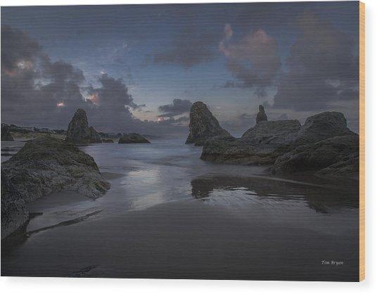 Twilight At Bandon Wood Print