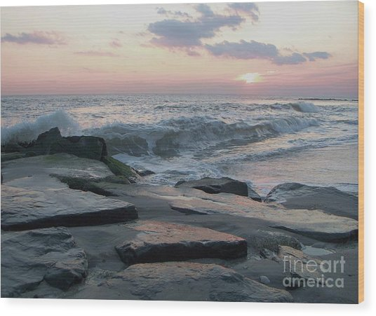 Twilight At Cape May In October Wood Print