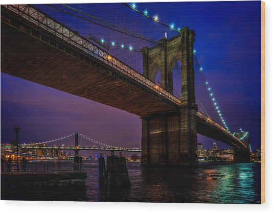 Twilight At The Brooklyn Bridge Wood Print