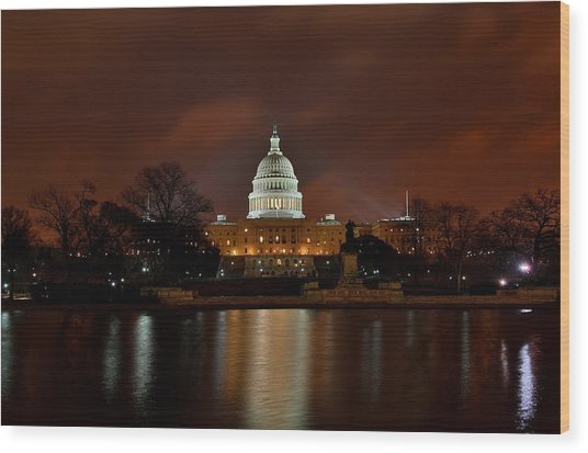 Twilight At The Capitol Wood Print