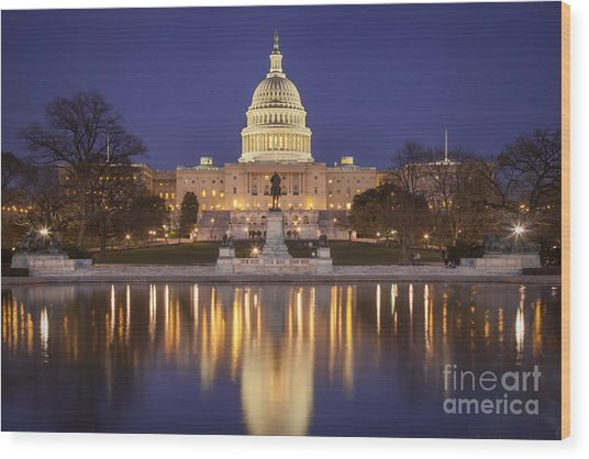 Wood Print featuring the photograph Twilight At Us Capitol by Brian Jannsen