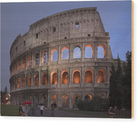 Twilight Colosseum Rome Italy Wood Print