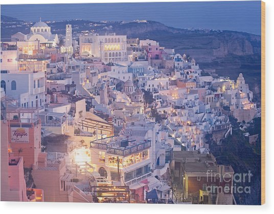 Twilight In Santorini Wood Print