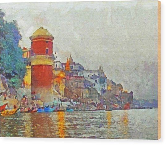 Twilight In Varanasi Wood Print