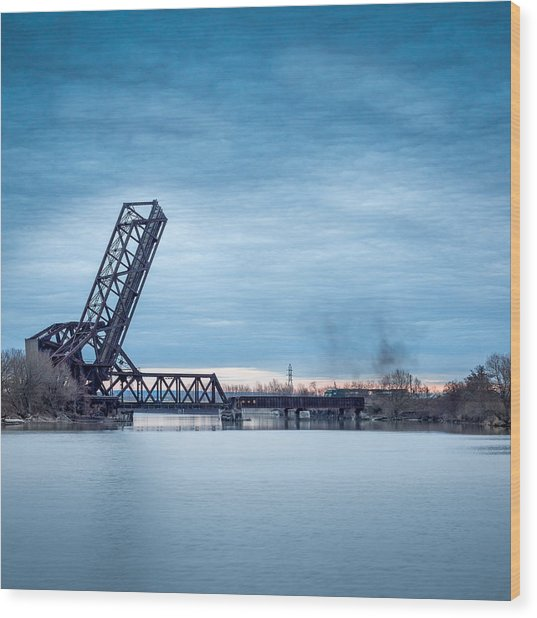 Twilight Locomotive Crossing Buffalo River Wood Print