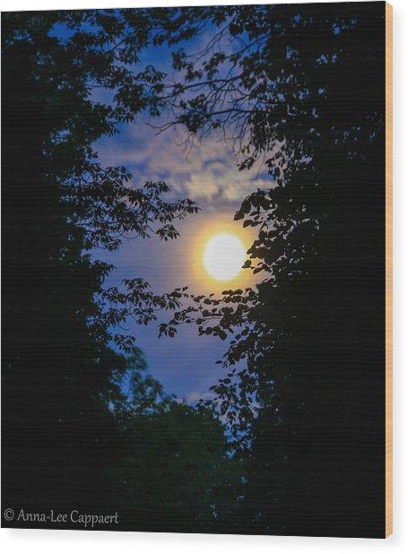 Twilight Moon Wood Print by Anna-Lee Cappaert
