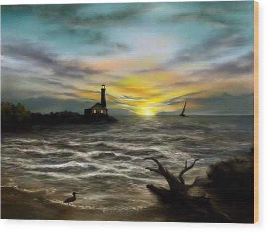 Twilight On The Sea Wood Print