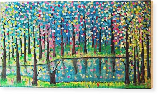 Twilight Pond Wood Print