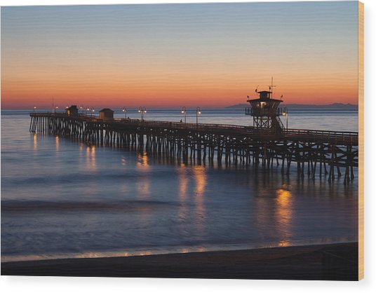 Twilight San Clemente Pier Wood Print