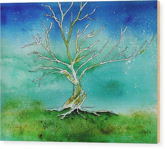 Twilight Tree Wood Print