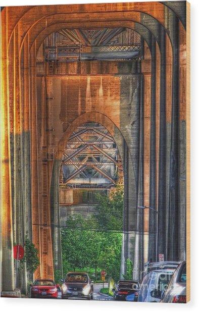 Twilight Under A Fremont Bridge Wood Print by Chris Anderson