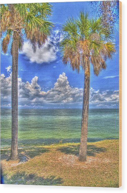 Twin Palms Wood Print