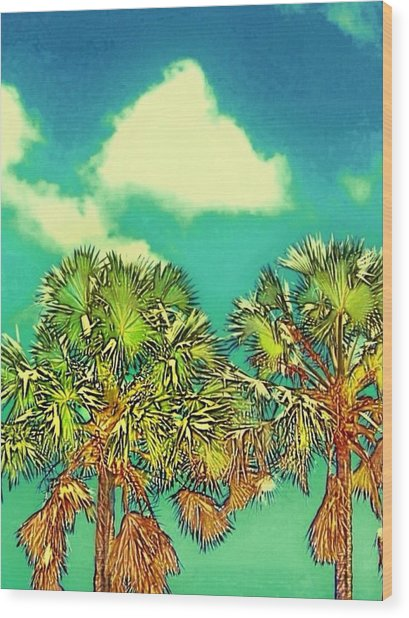 Twin Palms With Aqua Sky - Vertical Wood Print