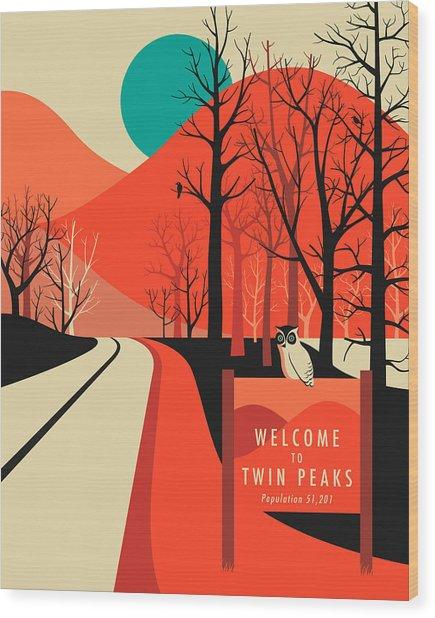 Twin Peaks Travel Poster Wood Print