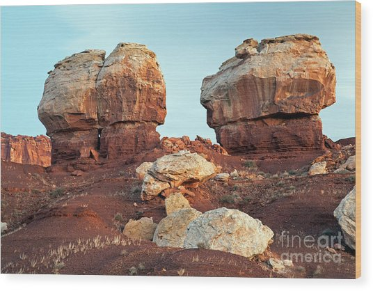 Twin Rocks At Sunrise Capitol Reef National Park Wood Print