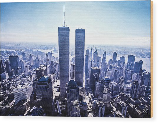 Twin Towers Year 2000 Wood Print by Kim Lessel