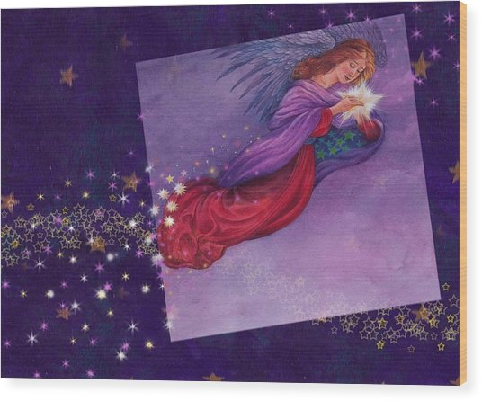 twinkling Angel with star Wood Print