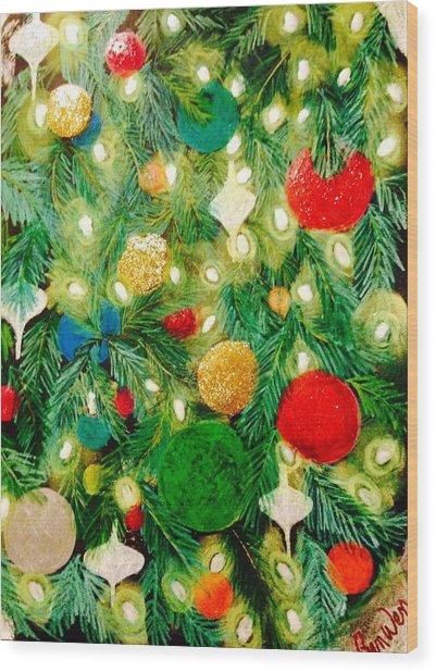 Twinkling Christmas Tree Wood Print