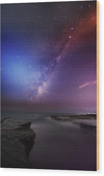 Twins Color Milky Way Wood Print by Alex Teng
