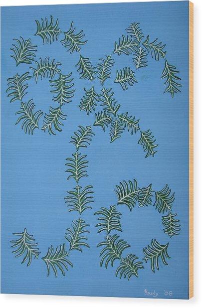 Twirling Leafs Wood Print