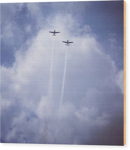 Two Airplanes Flying Wood Print
