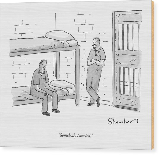 Two Angry Inmates Speak In Their Cell Wood Print