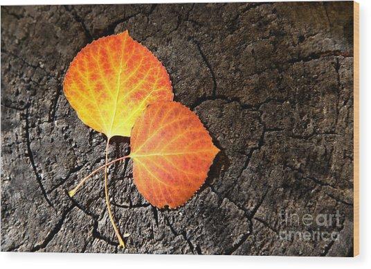 Two Aspen Leaves Wood Print