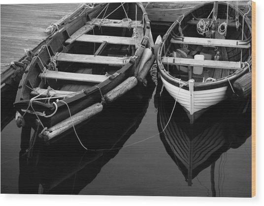 Two At Dock Wood Print