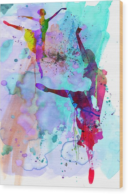 Two Ballerinas Watercolor 4 Wood Print