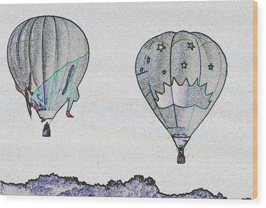 Two Balloons  Wood Print